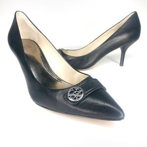 Coach Zelda Black Leather Pointed Toe Heels SH0842